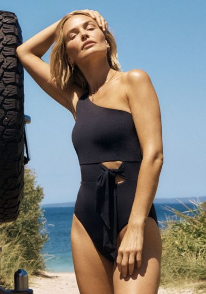 One Shoulder Tie Detail Swimsuit