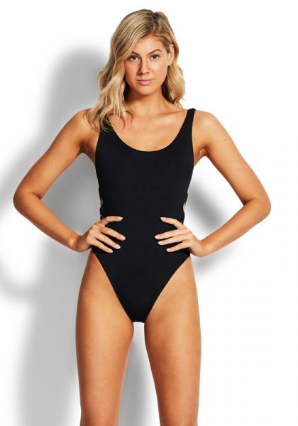 Seafolly Active Ring Side Swimsuit Black