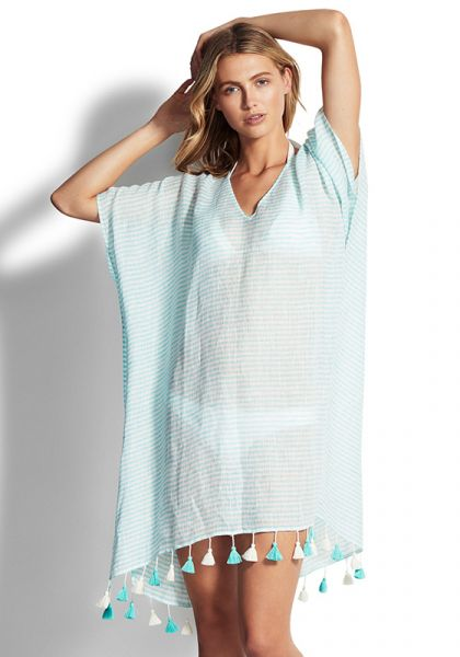 Baja Linen Stripe Kaftan Antigua Blue