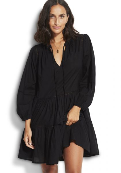 Seafolly Bayside Ladder Trim Dress Black