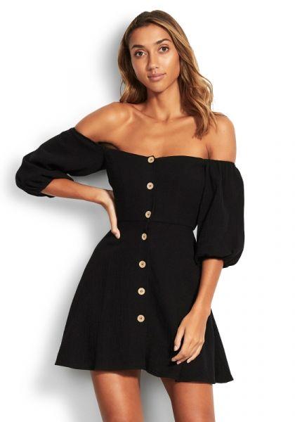 Seafolly Off Shoulder Dress Black