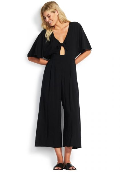 Seafolly Tie Front Jumpsuit Black