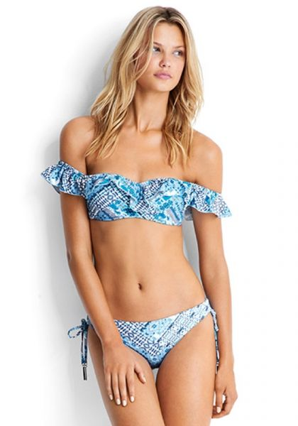 Seafolly Blue Bazaar Cold Shoulder Bikini