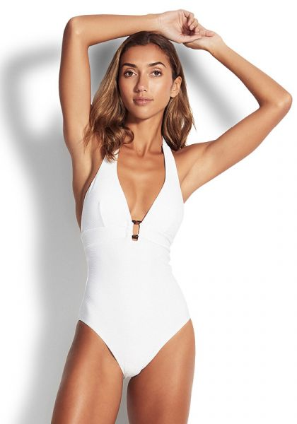 Seafolly Halter Swimsuit White