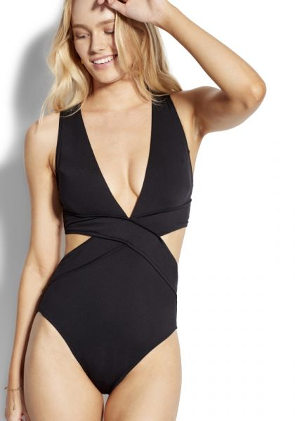 Seafolly Cross Front Swimsuit Black