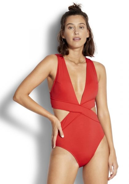 Seafolly Cross Front Swimsuit Chilli