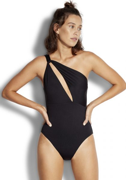 Seafolly one shoulder swimsuit black