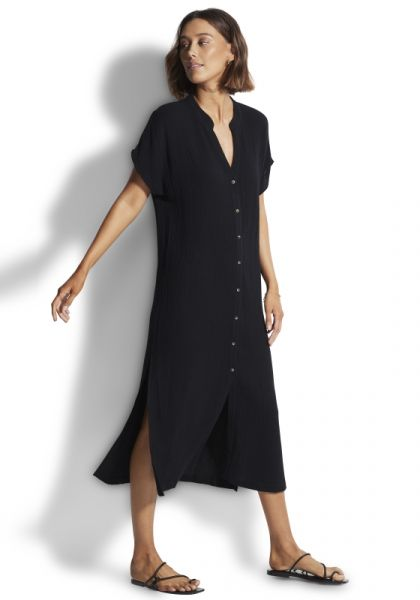 Seafolly Double Cloth Coverup Black