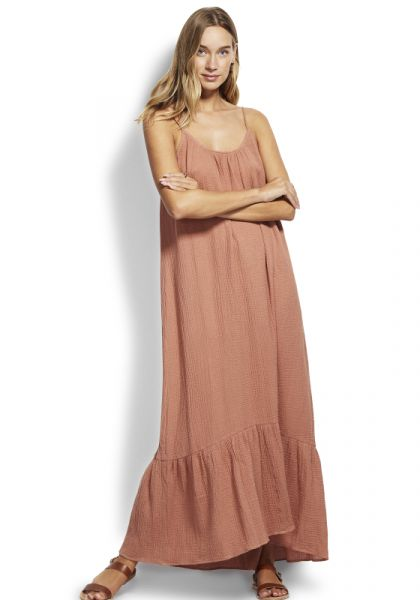Seafolly Double Cloth Midi Slip Dress Faded Rose