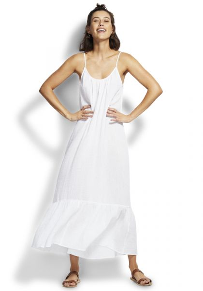 Seafolly Double Cloth Midi Slip Dress White