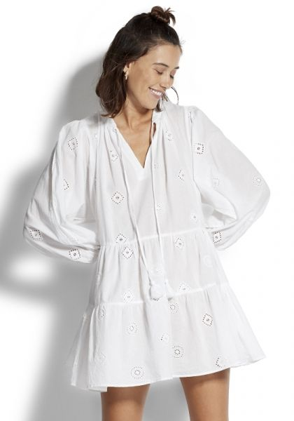 Embroidered Sleeve Tiered Dress White