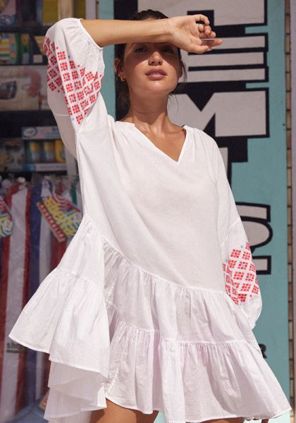 Seafolly Embroidered Sleeve Tiered Dress