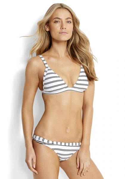 Seafolly Inka Stripe Triangle Bikini White