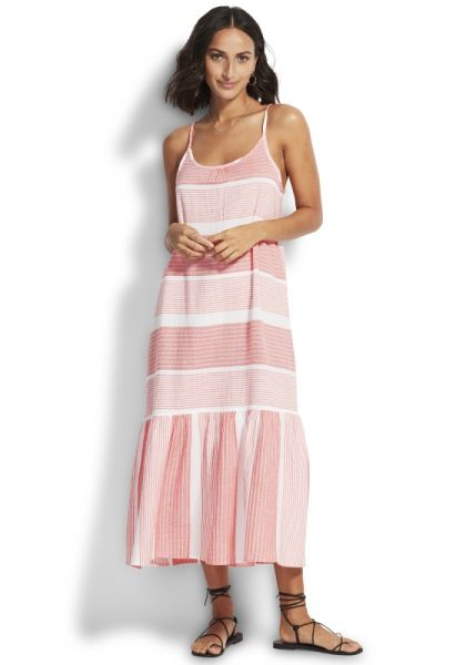 Seafolly Jacquard Midi Dress Sugar Coral