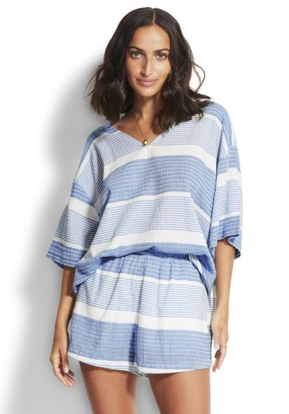 Seafolly Jacquard Top Blue