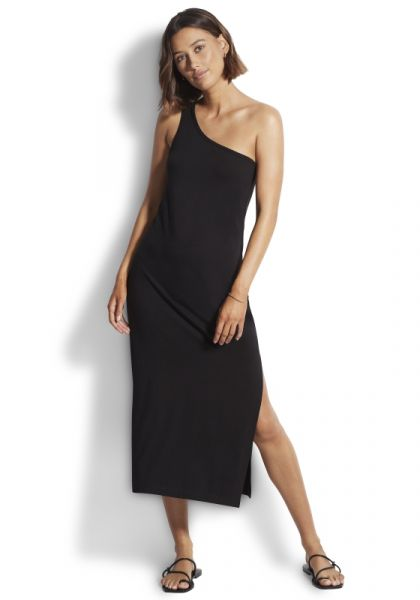 One Shoulder Jersey Midi Dress