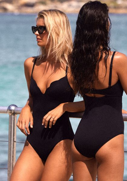 Seafolly Petal Edge Sweetheart Swimsuit Black