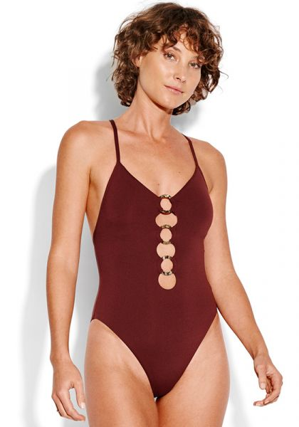 Seafolly Ring Front Swimsuit Plum