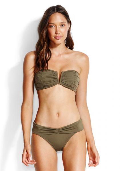 Ruched Bandeau Bikini Olive