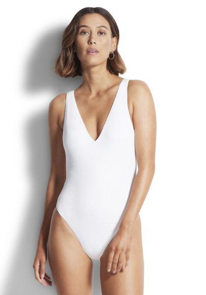 Seadive V Neck Swimsuit White