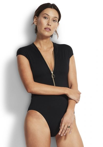 Zip Front Swimsuit Black