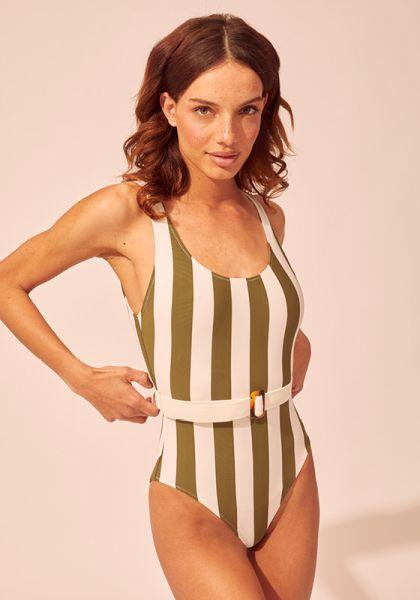 Solid & Striped Anne-Marie Belt Safari Stripe Swimsuit