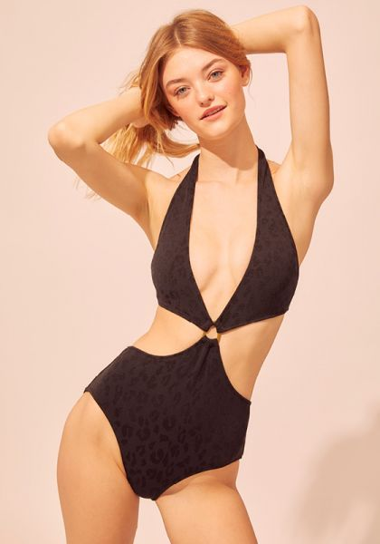 Solid & Striped Iman Jacquard Leopard Swimsuit