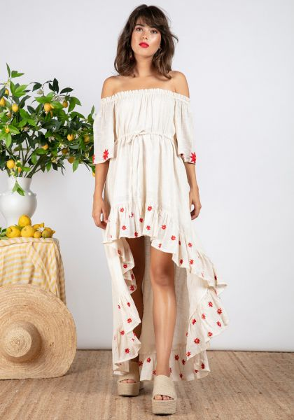 Sundress Alena Dress Coconut/Red Daisy