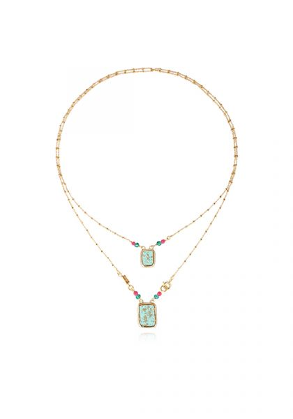 Totem Scapulaire Necklace Turquoise
