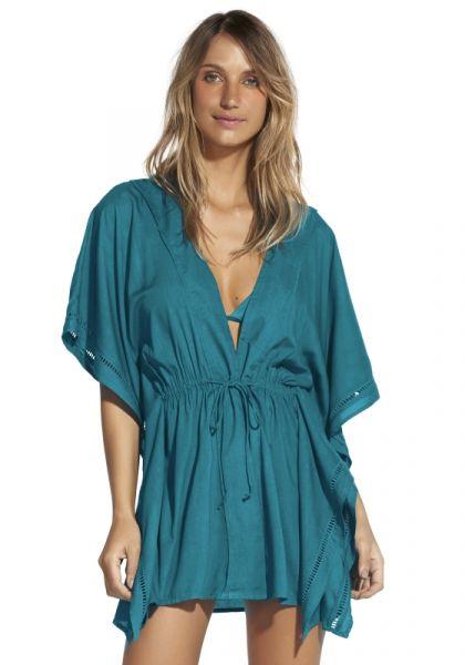 Vix Turquoise Embroidery Kimono