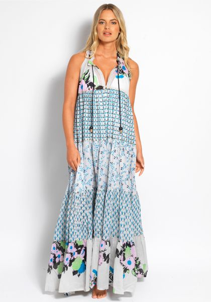 Yvonne S Sleeveless Hippy Maxi Dress Grey