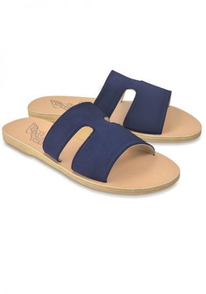 Ancient Greek Sandals Apteros Sandals Navy Satin