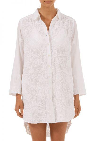 Juliet Dunn Sequin Embroidered Shirt
