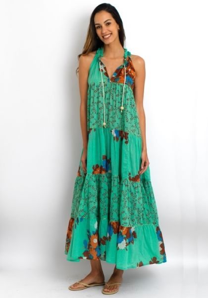 Yvonne S Sleeveless Hippy Dress Green